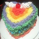 爱心彩虹蛋糕