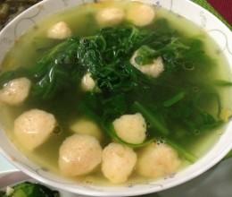 蓬蒿菜虾球汤