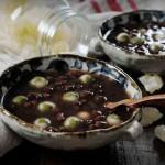 双拼抹茶小圆子红豆汤