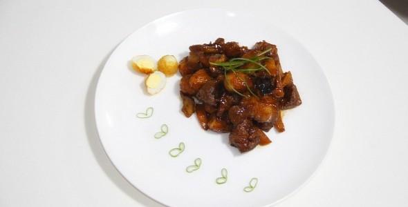 鱿鱼鹌鹑蛋虎皮红烧肉的做法猪腰不放姜怎么煮图片