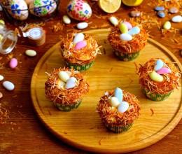 【复活节的彩蛋鸟巢】椰子鸟巢纸杯蛋糕