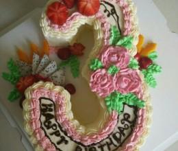 数字3异形蛋糕