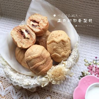 丑萌的咖啡彩蛋面包——巧克力乳酪夹心