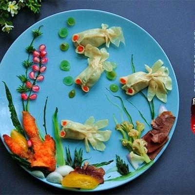 巧用金鱼蒸饺做拼盘