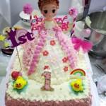 双层芭比公主周岁蛋糕