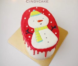 雪人芝士转印淋面蛋糕