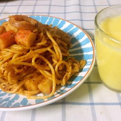 辣海鲜意大利面&玉米汁