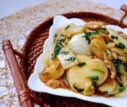 荠菜白菜蘑菇肉丝炒年糕