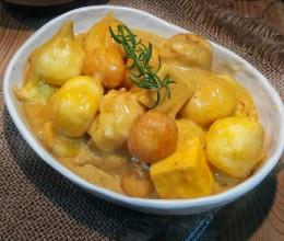 咖喱四海鱼旦&上汤清菜