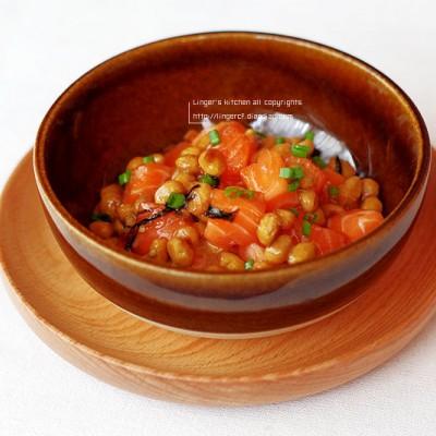 納豆拌三文魚