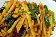 红油豆瓣酱版炒双笋
